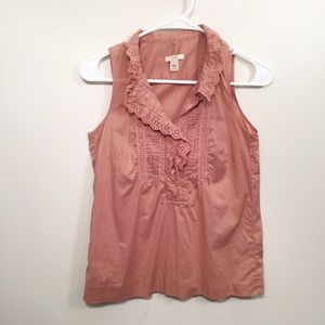 J.CREW Mauve Pink Lace Sleeveless Blouse Tank Top